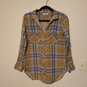 Anthropologie Cloth & Stone plaid button up